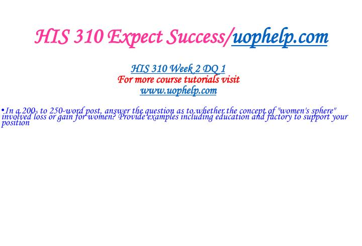 HIS 310 Expect Success/