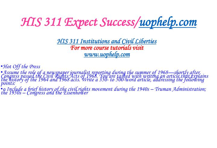 HIS 311 Expect Success/