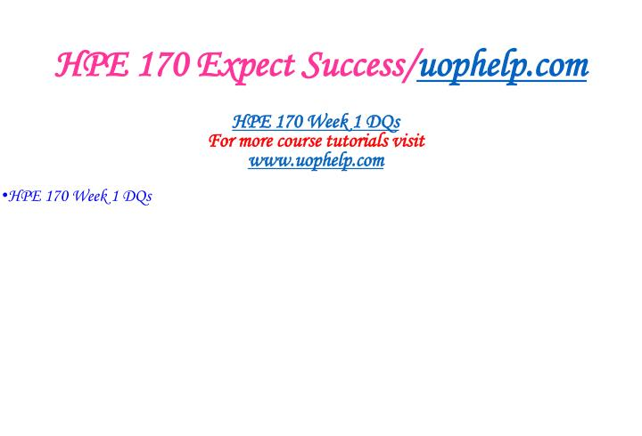 HPE 170 Expect Success/