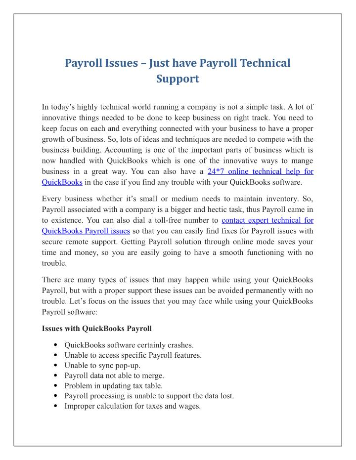 Payroll Issues – Just have Payroll Technical