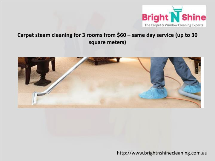 Carpet steam cleaning for 3 rooms from $60 – same day service (up to 30 square meters)