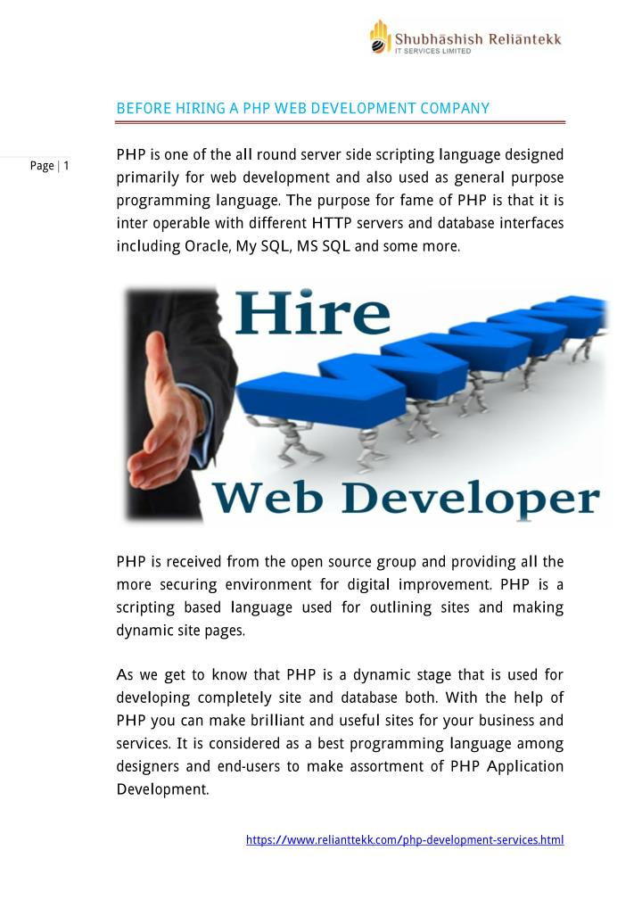 BEFORE HIRING A PHP WEB DEVELOPMENT COMPANY
