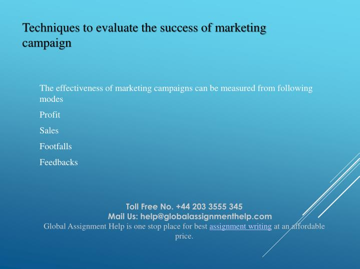 Techniques to evaluate the success of marketing campaign