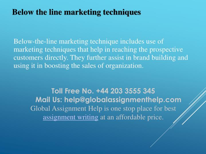 Below the line marketing techniques