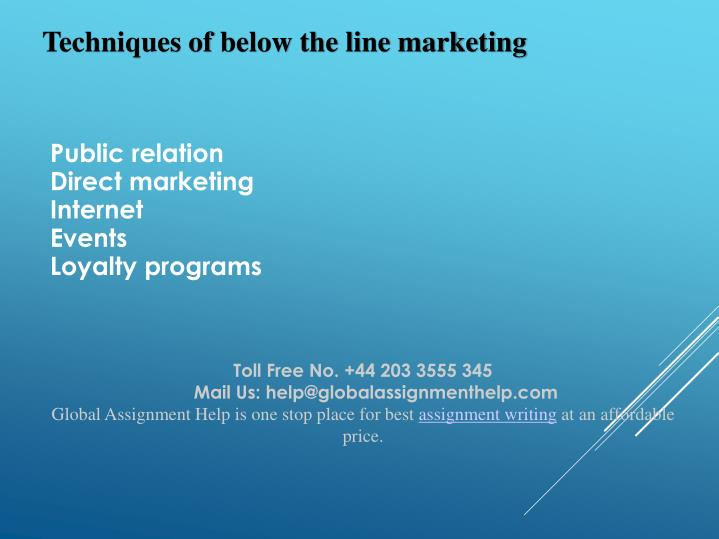 Techniques of below the line marketing