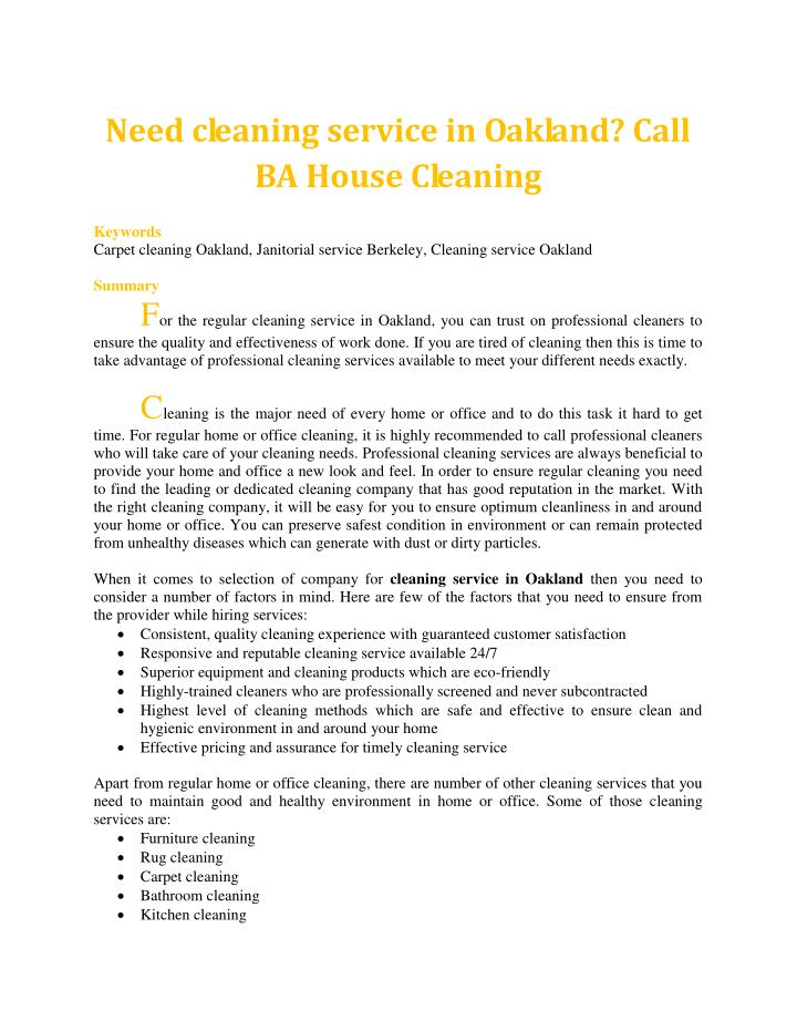Need cleaning service in Oakland? Call