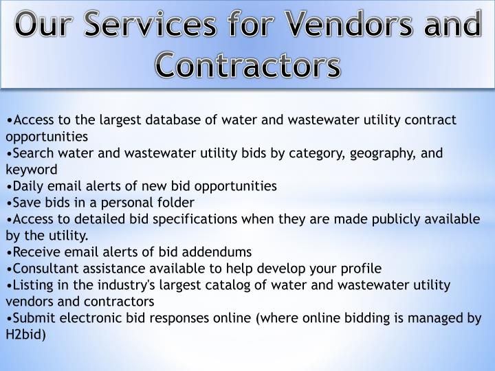 Our Services for Vendors and Contractors