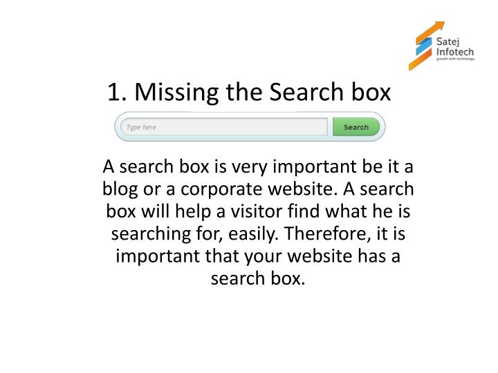 1 missing the search box