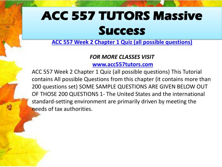 ACC 557 TUTORS Massive Success