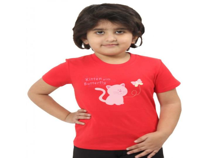 Kids red 2 colour graphic design cotton t shirts