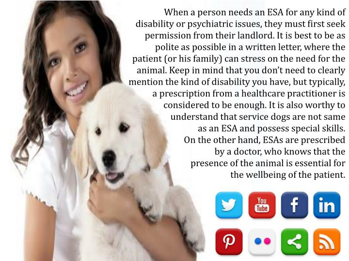 When a person needs an ESA for any kind of disability or psychiatric issues, they must first seek permission from their landlord. It is best to be as polite as possible in a written letter, where the patient (or his family) can stress on the need for the animal. Keep in mind that you don't need to clearly mention the kind of disability you have, but typically, a prescription from a healthcare practitioner is considered to be enough. It is also worthy to understand that service dogs are not