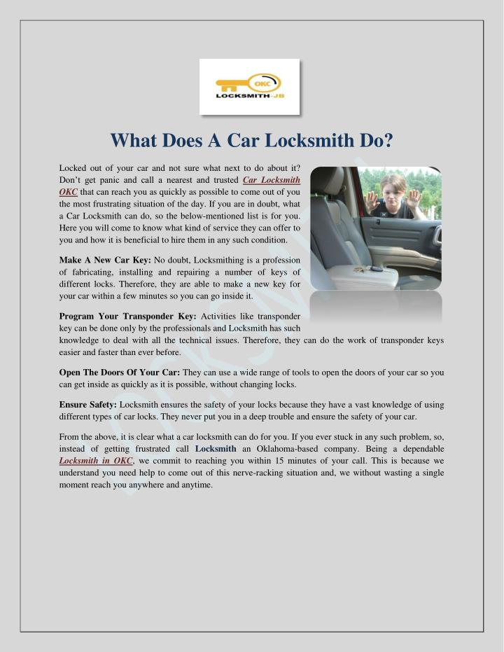 What Does A Car Locksmith Do?