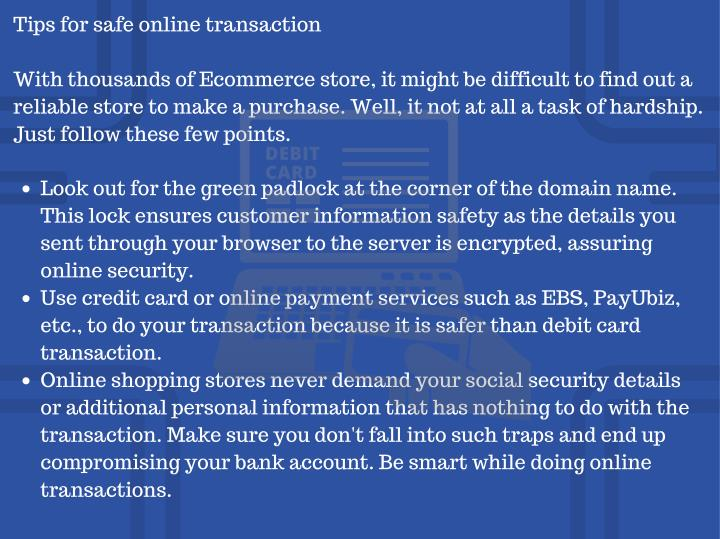 Tips for safe online transaction