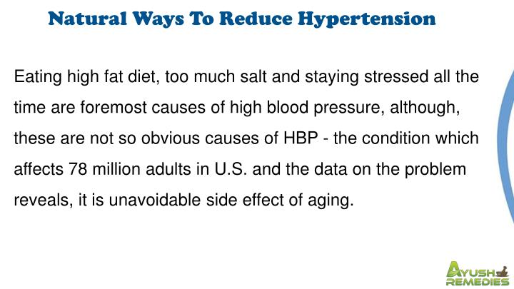 Natural Ways To Reduce Hypertension