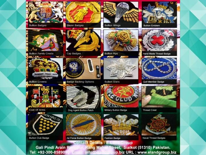 Hand embroidery badges bullion wings supplier