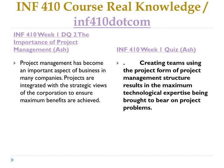 Inf 410 course real knowledge inf410dotcom2