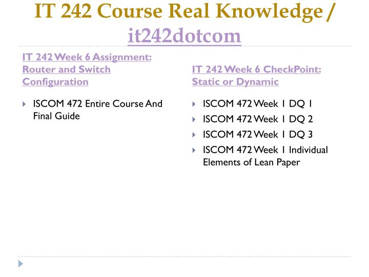 IT 242 Course Real Knowledge /