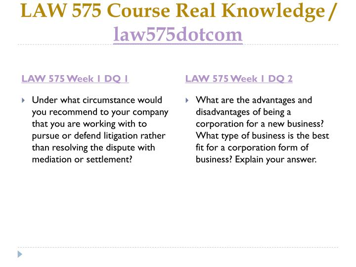 Law 575 course real knowledge law575dotcom2