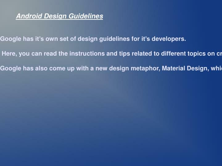 Android Design Guidelines