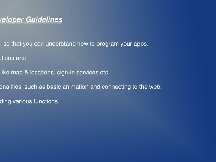 Android Developer Guidelines