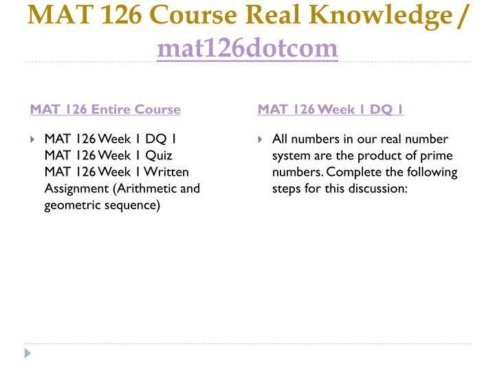 Mat 126 course real knowledge mat126dotcom1