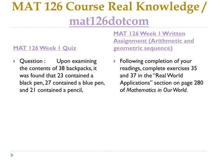 Mat 126 course real knowledge mat126dotcom2