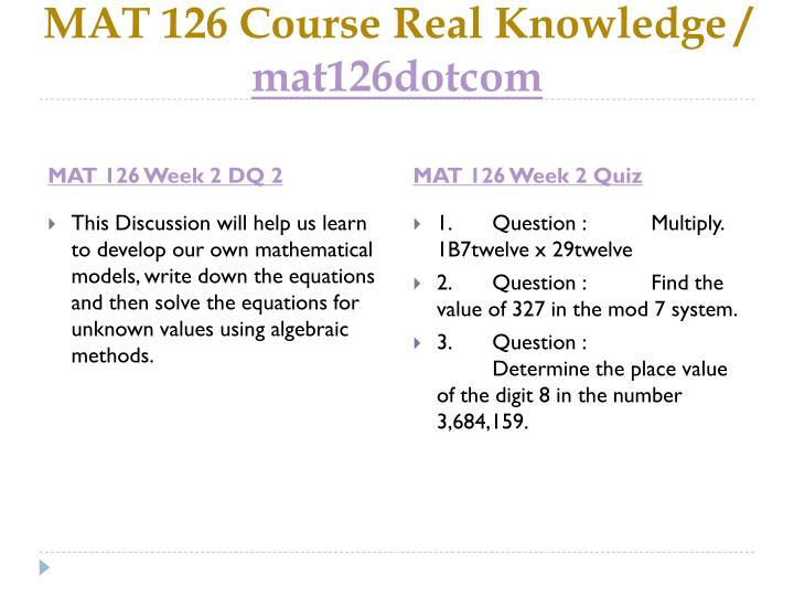 MAT 126 Course Real Knowledge /