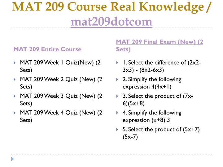 Mat 209 course real knowledge mat209dotcom1