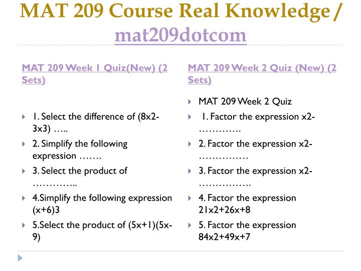Mat 209 course real knowledge mat209dotcom2