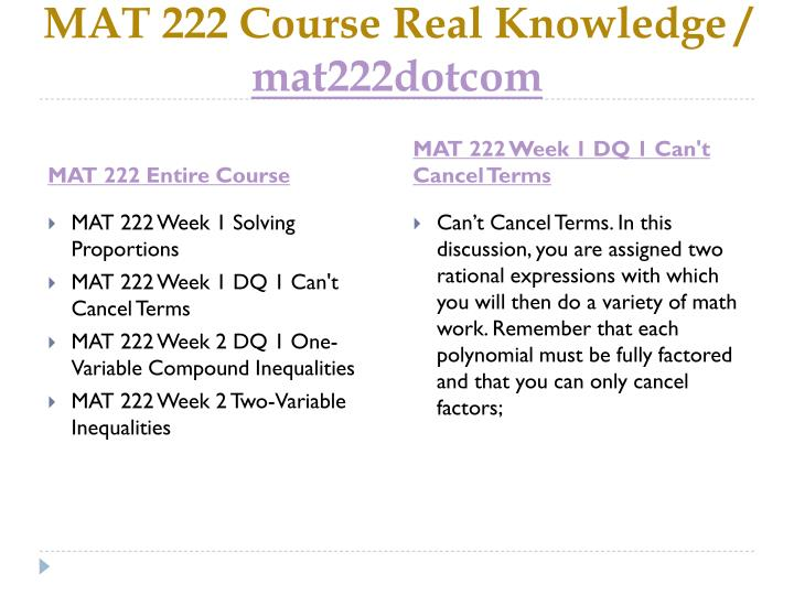 MAT 222 Course Real Knowledge /