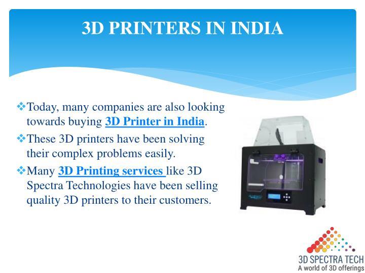 3D PRINTERS IN INDIA