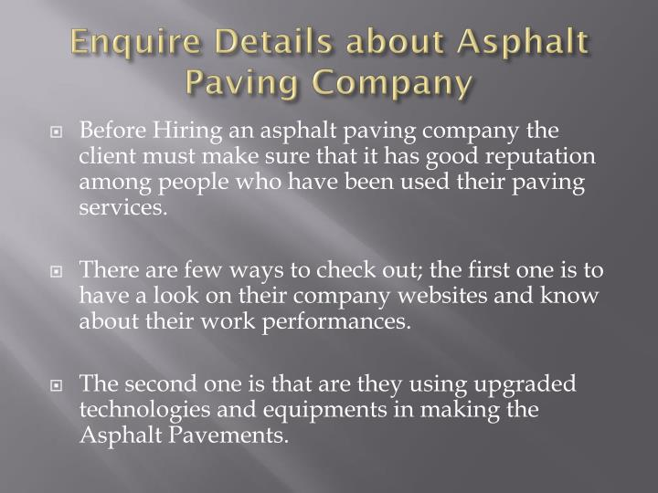Enquire Details about Asphalt Paving Company