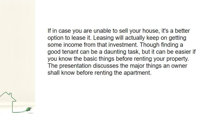 Things to consider before renting a property
