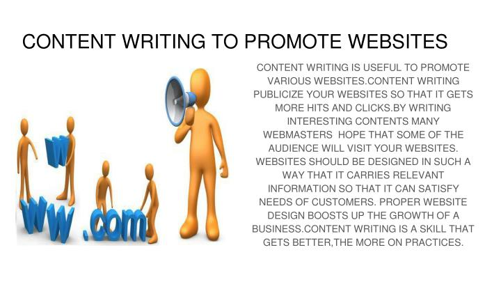 CONTENT WRITING TO PROMOTE WEBSITES