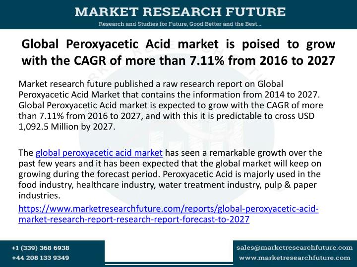 Global peroxyacetic acid market is poised to grow with the cagr of more than 7 11 from 2016 to 2027