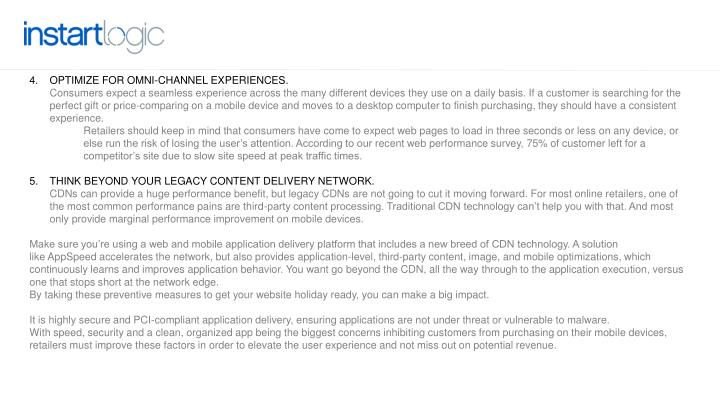 Optimize for omni-channel experiences.