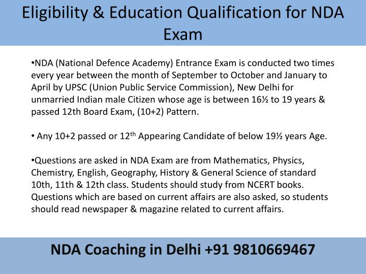 Eligibility & Education Qualification for NDA