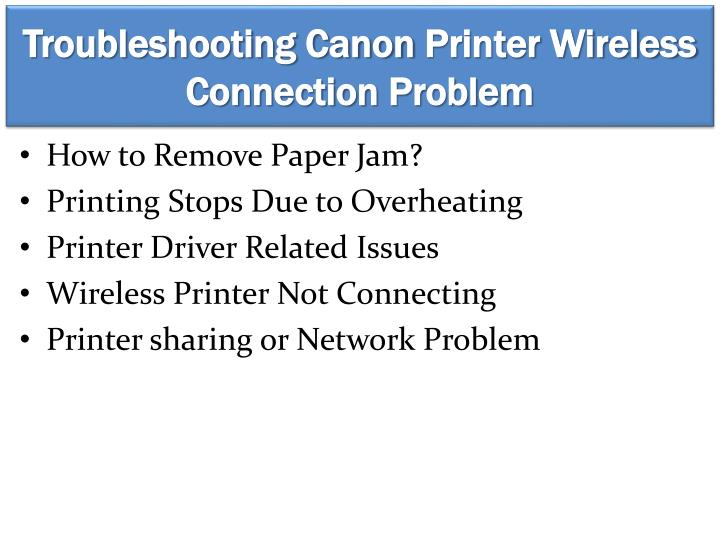 Troubleshooting canon printer wireless connection problem