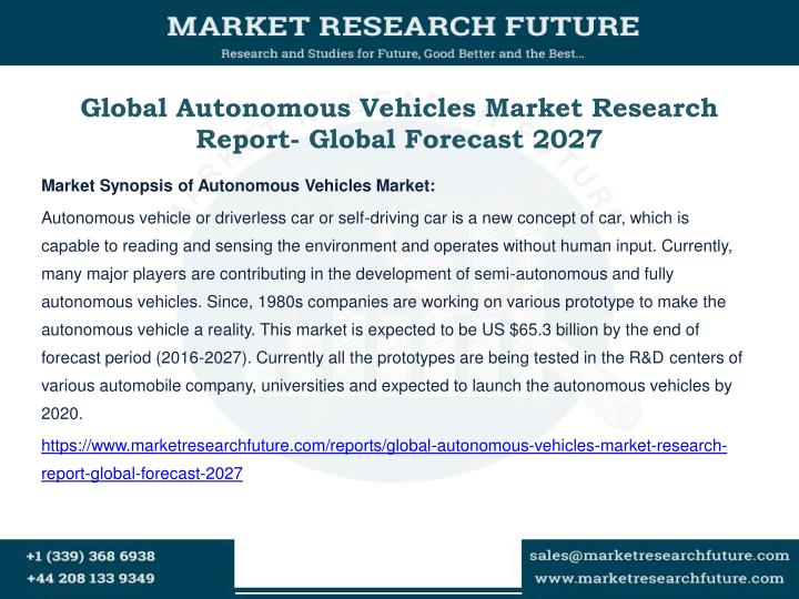 Global autonomous vehicles market research report global forecast 2027