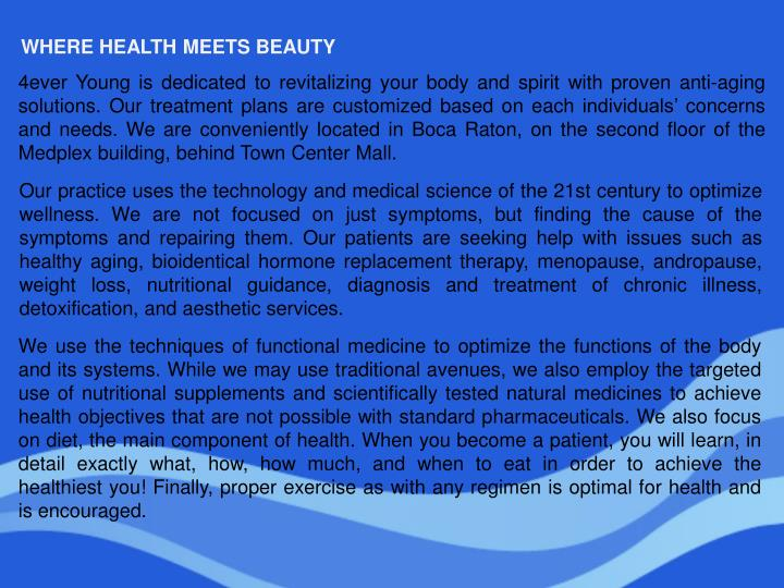 WHERE HEALTH MEETS BEAUTY