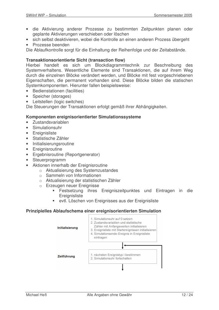 SWiInf WIP – Simulation                                                                                      Sommersemester 2005