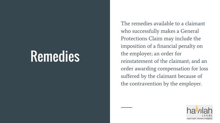 The remedies available to a claimant