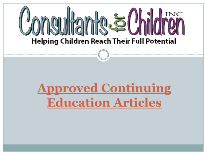 Approved continuing education articles