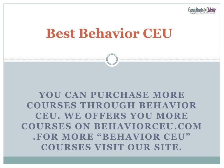 Best Behavior CEU
