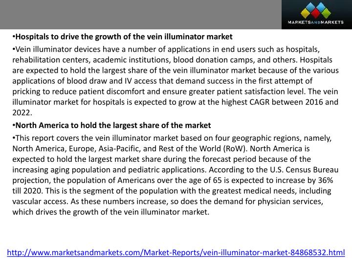 Hospitals to drive the growth of the vein illuminator market