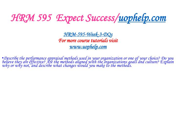 HRM 595  Expect Success/