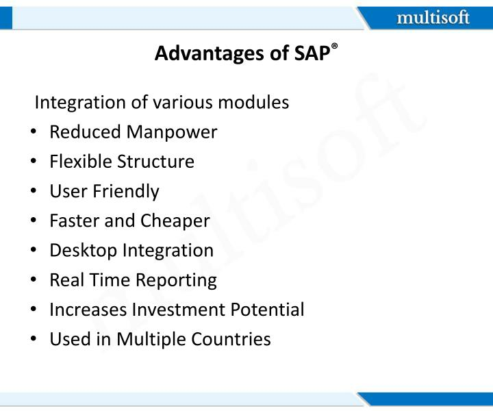 Advantages of SAP