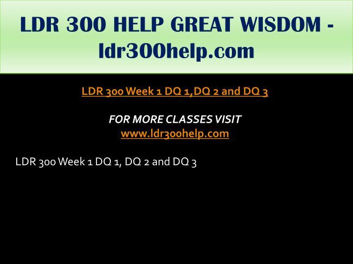 LDR 300 HELP GREAT WISDOM - ldr300help.com