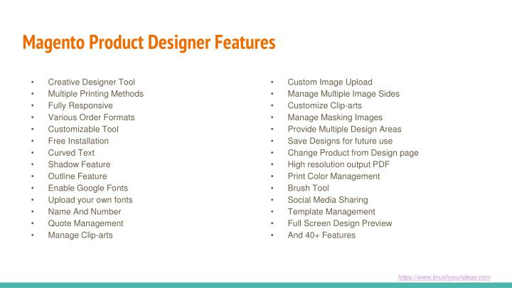 Magento Product Designer Features