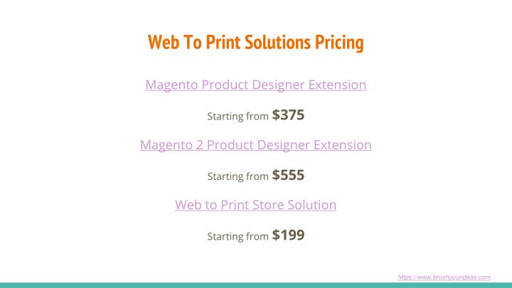 Web To Print Solutions Pricing
